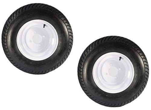 2-Pack Trailer Tire On Rim 205/65-10 20.5X8.0-10 White Wheel 4H Bias ()