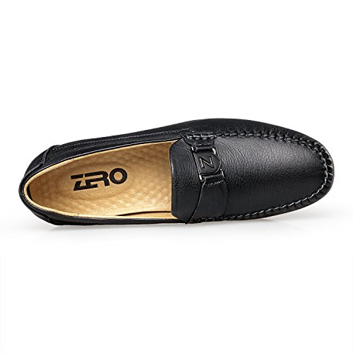 Zro Mens Fashion Driving In Pelle Casual Slip-on Mocassino Nero