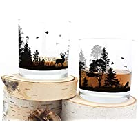 Whiskey Glasses - Forest Animals - Set of Two 11oz. Tumblers
