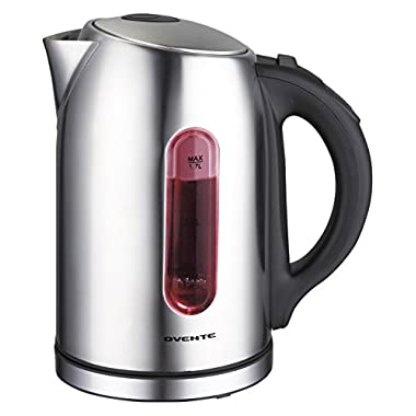 Ovente KS88S 1.7 Liter BPA Free Temperature Control Stainless Steel Cordless Electric Kettle with Keep Warm Function, Brushed