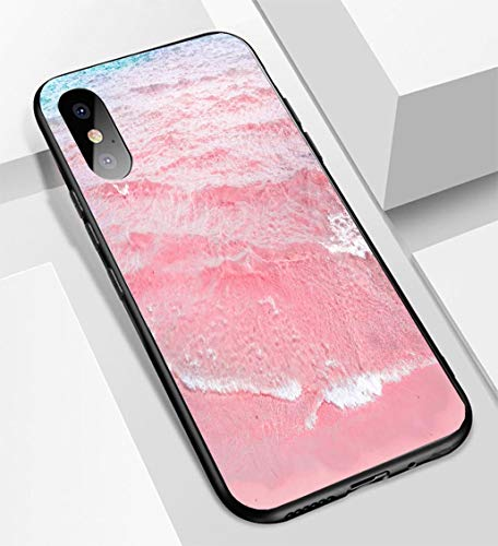iPhone X/XS Ultra-Thin Glass Back Phone case,Foamy Rippled Clear Sea Wave Rolling to Pink Sand Shore Turquoise Blue Water Beautiful Tranquil Idysoft and Easy to Protect The Protective case
