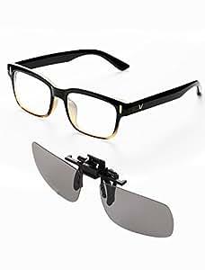 Kits de Gafas de Computadora, Filtro de Luz Azul y Clip de Lentes de película 3D, Computer Glasses Anti UV Blue Light para jugar Celular, PC, TV, Computadora , Lente Unisexo para Hombres y Mujeres (Negro, Gratis)