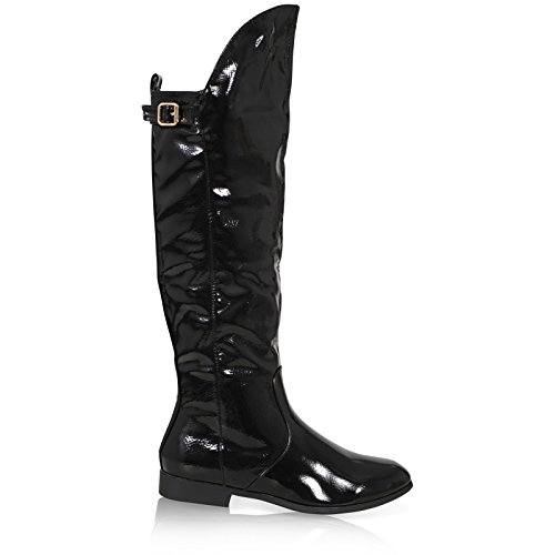 RIDING OVER DOWN THE 8 Crystal Black SIZE WOMENS 3 FOLD ZIP BOOTS LADIES SHOES CALF BUCKLED Patent KNEE Yq6wz5