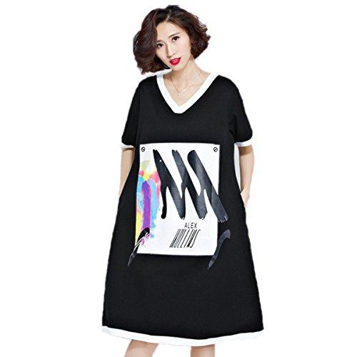 Vestido De Negro HGDR Verano Womem V Costura Suelta Del Cuello De Manga Corta Estampado Floral Camiseta Con Los Bolsillos Black