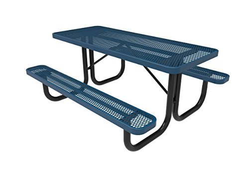 Coated Outdoor Furniture T6-LBL Rectangular Portable Picnic Table, 6 Feet, Light Blue