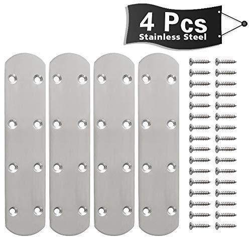 Straight Bracket - Alise 4 Pcs Flat Straight Brace Brackets Mending Plates Repair Fixing Bracket,6-1/2 Inch Stainless Steel Brushed Nickel