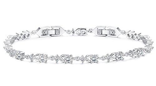 Finrezio Platinum Plated CZ Tennis Bracelets for Women Bridal Wedding Jewelry Bracelet Adjustable (A: (Plated Fashion Jewelry Bracelet)
