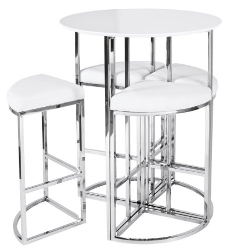 New Dwell Style Gloss White Orbit Bar Table Set inc  Chairs
