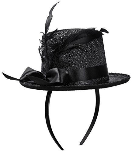 Jacobson Hat Company Women's Mini Glitter Top Hat Headband, Black, - Plastic Top Mini Hat