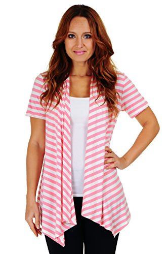 Simply Ravishing SR Women's Basic Short Sleeve Stripe Open Cardigan (Size: Small-5X), 5X, Ivory/Strawberry