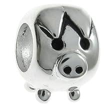 Queenberry .925 Sterling Silver Cute Animal Pig Bead For European Chamilia Biagi Troll Pandora Charm Bracelets