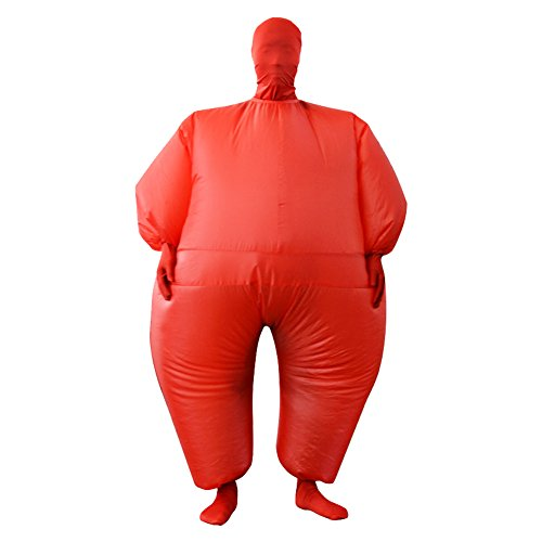 Inflatable Full Body Jumpsuit Cosplay Costume Halloween Funny Fancy Dress Blow Up Party Toy (Red) ()