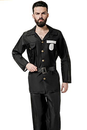 La Mascarade Adult Men Policeman Costume Police Detective Cop Law Officer Dress Up Role Play (Medium/Large, - Cop Male Costume