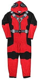 Deadpool (X-Men) Costume -- Hooded Fleece One-Piece Union Pajamas