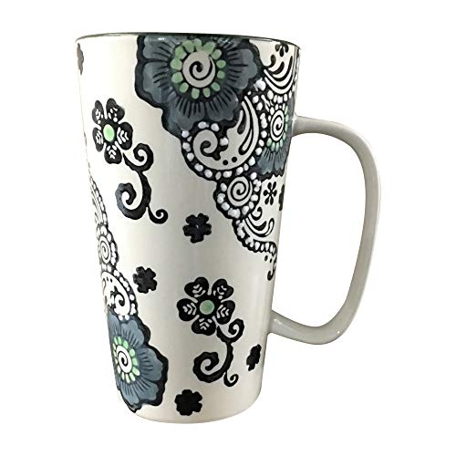 Floral Hand Painted Tall Large Latte Coffee Mug 17 Ounce (Blue-Green)