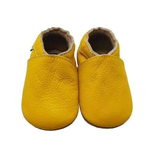 Sayoyo Lowest Best Baby Soft Sole Prewalkers Skid-resistant Baby Toddler Shoes Cowhide Shoes (18-24 months, Yellow) - Image 6