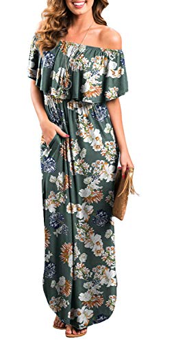 Womens Off The Shoulder Ruffle Party Dresses Side Split Beach Maxi Dress Flower06 XL