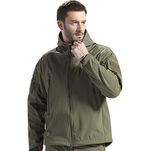 FREE SOLDIER Hunting Jacket, Men Outdoor Tactical Softshell Jacket Water Resistant Fleece Lined Warm Hoodie Jacket (Army green, XL) (Army Jacket Up Warm)