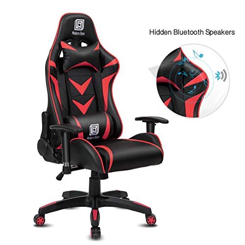 Modern-Depo High-Back Swivel Gaming Chair Recliner with Bluetooth 4.1 Speakers & Lumbar Support & Headrest | Height Adjustable Ergonomic Office Desk Chair - Black & Red
