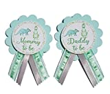 Mommy to Be & Daddy to Be Pin Dinosaur Baby Shower Pin for parents to wear, Blue & Green, It's a Girl, It's a Boy Baby Sprinkle