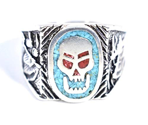 Nemesis Jewelry NYC Vintage Southwestern Inlay Blue and Red Skull Men's Ring from Nemesis Jewelry NYC