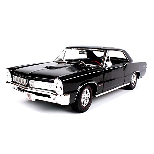 LUCKYCAR 1965 Pontiac GTO Simulation Alloy car Model, Luggage/Engine Compartment can be Opened, Movable Door, 1:18 Ratio, Finished Model, 28 cm, Black ()
