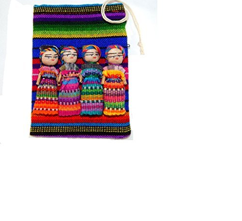 Large Worry Doll Pouch Contains 4 2 Dolls From Guatemala