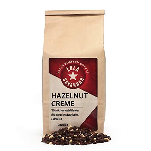 Lola Savannah Hazelnut Crème Whole Bean Coffee - Arabica Beans Flavored with the Sweet Buttery Essence of Hazelnuts | Caffeinated | 2lb Bag (Coffee Bean Picture)
