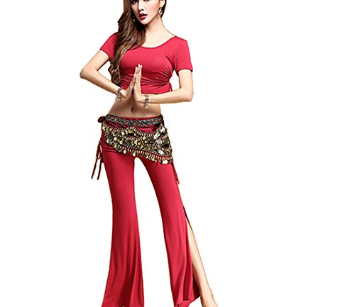 Dance Costumes Performance Wear (Belly dance modal cotton Indian dance Performance costumes sexy Belly dance red M)