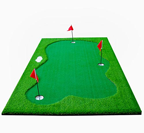 77tech Large Artificial Grass Golf Putting Green Mat Indoor/Outdoor Golf Training Aid Equipment Mat (5x10ft)