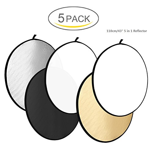 WAAO 43'' /110CM 5 in 1 Collapsible Round Multi Disc Light Reflector Photographic Lighting Reflector for Studio or any Photography Situation(Translucent, Silver, Gold, White, and Black) by WAAO