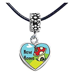 Chicforest Silver Plated New Home Photo Flower Head Dangle Heart Charm Beads Fits Pandora Biagi Troll Chamilia Kay's Beads Charms