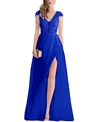 Evening Blue Women's Prom Deep Formal V Split Gown AiniDress Dress Neck With Cap Back Lace Royal High Sleeves qPTnd