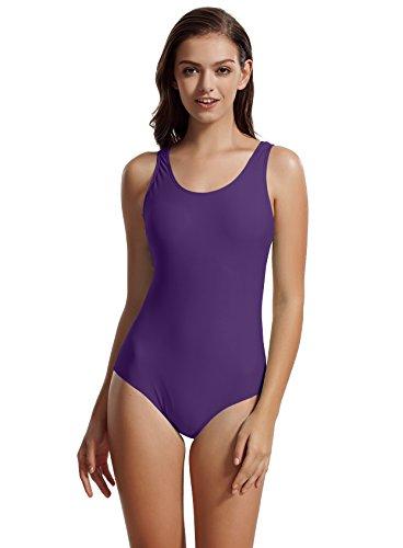 zeraca Women's Sport Racerback One Piece Swimsuit Swimwear (X-Large / 18, Rich Grape)