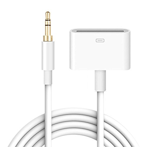 iPhone Audio Input Adapter, iPad iPod iPhone 30 Pin Female Dock Docking Connection to 3.5mm Male Audio Output AUX Cable - 3.3 feet (White)