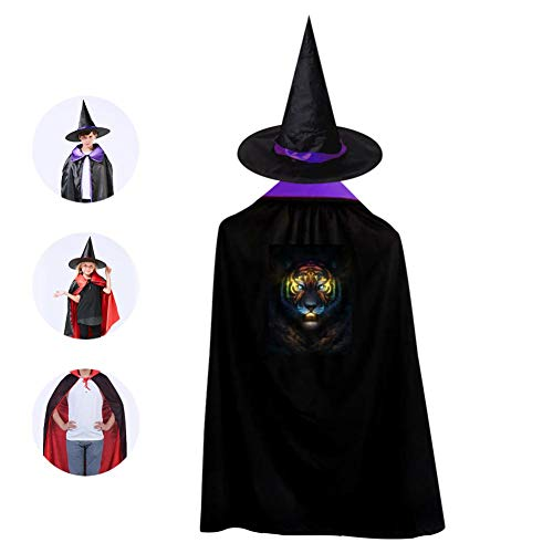 69PF-1 Halloween Cape Matching Witch Hat Cool Tiger King Wizard Cloak Masquerade Cosplay Custume Robe Kids/Boy/Girl Gift -