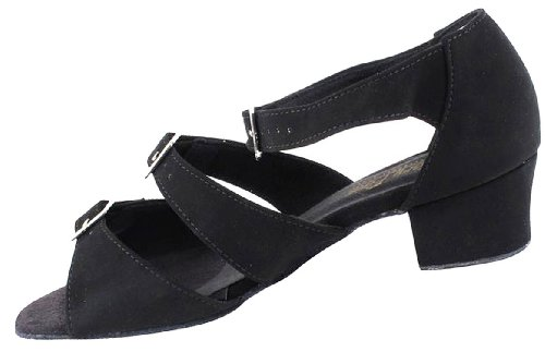 Womens Ballroom Dance Shoes Party Salsa Practice Shoes Black Nubuck 1679EB Comfortable - Very Fine 1.5'' Heel 8 M US [Bundle of 5] by Very Fine Dance Shoes (Image #3)