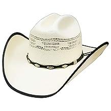 Modestone Straw Cowboy Hat Bangora Studs Hatband Fabric Brim Edge Off-White