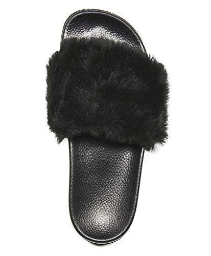 SandalsSlippers, Fashion Women and Men Flip Flop Fur Slide Slip On Flats Shoes (9B(M) US, NewBlack)
