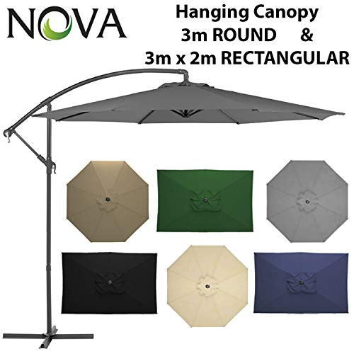 Nova Outdoor Living Cantilever Parasol - Garden Steel Metal Outdoor Patio  Umbrella Sun Shade Hanging Canopy Crank Operated 3m 3x2m in 6 Colours with