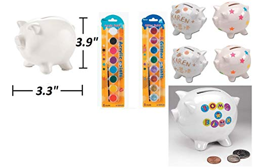 White Ceramic Piggy Bank (6 Pack) With 16 Acrylic & Glitter Paint Pots | DIY Arts & Crafts, Home Decor Ornament, Animal Decor, Money Box For Kids Fun Summer Activities & School Projects