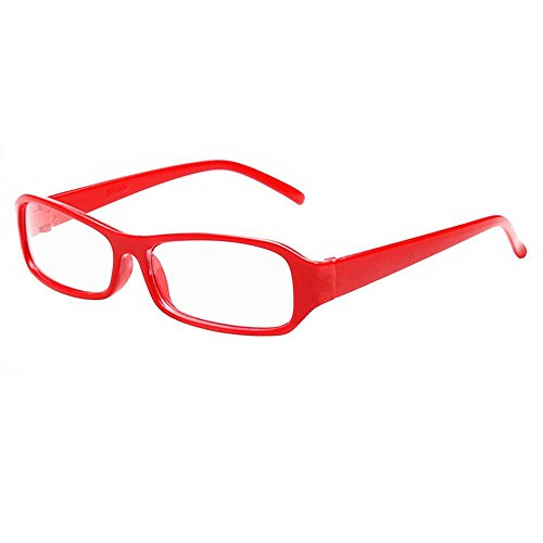FancyG® Vintage Inspired Classic Rectangle Glasses Frame Eyewear Clear Lens - Red]()