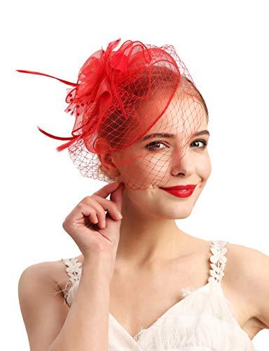 - Fascinators Hats 20s 50s Hat Pillbox Hat Cocktail Tea Party Headwear with Veil for Girls and Women(D-red)