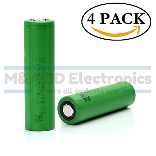 Sony VTC4 NMC 18650 High Drain 2100mAh Li-ion 30A 3.7V Rechargeable Flat Top Battery, (4 Pcs) by M&A BD Electronics (Sony Spring)