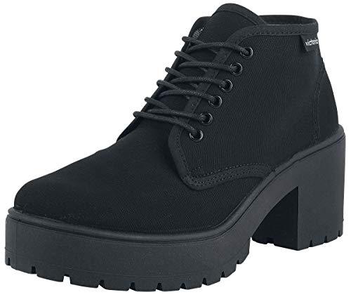 Piso Lona Alto Zapato Tacco Victoria Nero OHWES5F
