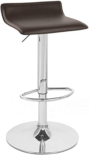 Set of 2 Sigma Contemporary Leather Adjustable Barstool – Coffee Brown