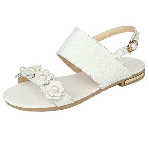 FANIMILA Mujer Moda Al Tobillo Sandalias Punta Abierta Planos Slingback Zapatos Chicas Colegio With Flor Blanco
