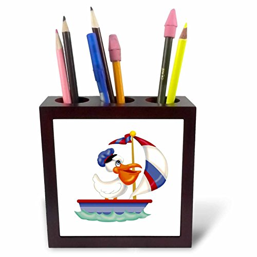 3dRose Russ Billington Nursery Designs - Cute Pelican Boat Skipper out Sailing - 5 inch tile pen holder (ph_261931_1) -