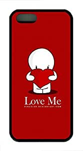 iPhone 5 5s Case, Slim Thin Shockproof Love Me IP5 Case fit for iPhone 5 5s Ultra Protective Back Rubber Cover Impact Protection for iPhone 5 5s (Black)