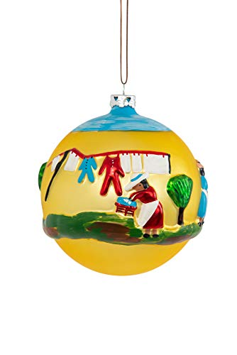 """The Clementine Hunter Collection-Collectible Christmas Ornaments, Hand Sculpted and Painted, Hand Blown Glass, Handmade - Wash Day 4"""" Round Ball Christmas Ornament"""